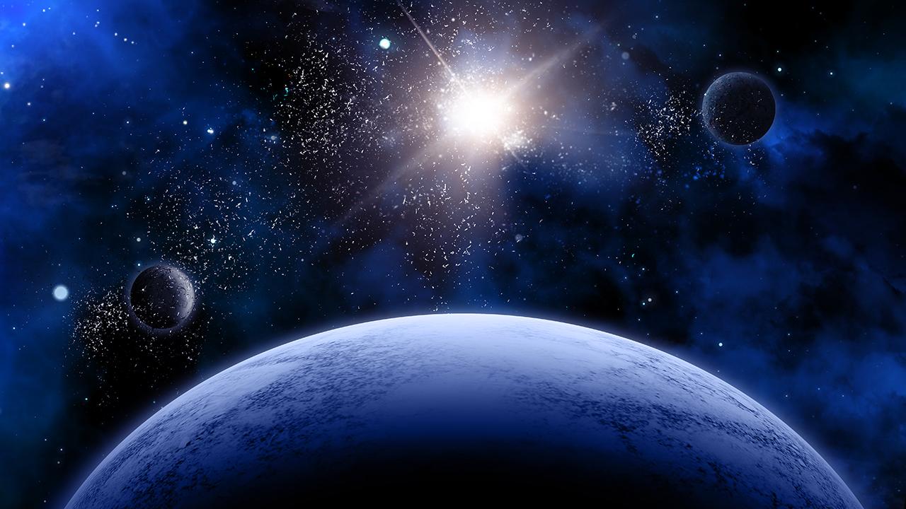 Ilustracja prezentuje Drogę Mleczną, widać Słońce i trzy planety