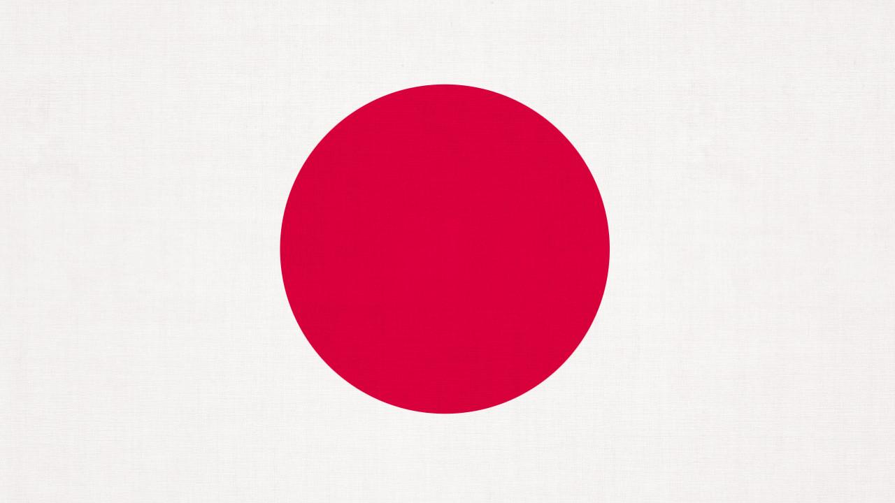 Flaga Japonii z wyrazistą strukturą tkaniny